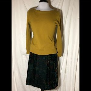 LOFT velour skirt & wool/cashmere sweater